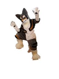 Echte kostüme online-Hot high quality Real Pictures Deluxe fursuit dog mascot costume husky mascot Character Costume Adult Size free shipping