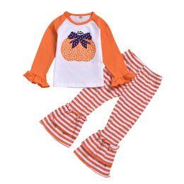 fatos de treino de borboleta Desconto Varejo 2019 Meninas do bebê Roupas de Halloween 2 pcs terno conjunto (camisa de manga longa abóbora + calça listra) crianças designer de fatos de treino meninas conjuntos de roupas