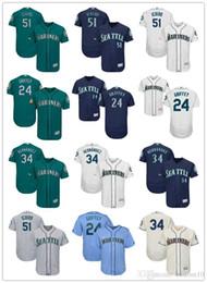 Grüne ken online-Männer Frauen Jugend Seattle 51 Ichiro Suzuki 24 Ken Griffey Jr. 34 Felix Hernandez Weiß Grün Beige Blau Custom Baseball Jerseys Mariners