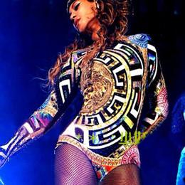 uma peça de dança sexy Desconto Sexy Beyonce Roupas Jazz Hip Hop Trajes de Dança Sexy Boate Leotard Mulher One Piece Macacão Beyonce Stage Outfits DL3253