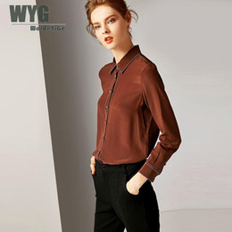 Шелковые блузки онлайн-100% Natural Silk Blouses 2019 Spring New Arrival Contrast White Embroider Long Sleeve Solid Army Green Black Brown OL Shirts