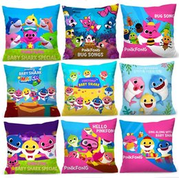 Cuscini di raso online-Baby Shark Cartoon Pillow Case PinkFong Square Pillow Covers 40 * 40cm Satin Cloth Pillowslip Divano Cuscino Tiro Cuscino Nuova A3142