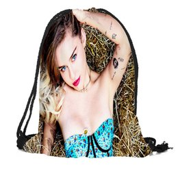 Рюкзак большой рюкзак онлайн-Custom Miley Cyrus Drawstring Bag Silk Soft Bag Large Sapacity Custom Logo Printing Backpack More Size