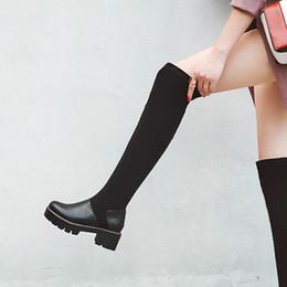 Botas de dedos cuadrados online-Salu 2019 Ronda del dedo del pie de la plataforma concisa sobre las botas de la rodilla invierno Plaza de deslizamiento tacón alto en invierno caliente mujeres de la piel Tamaño de los zapatos 34-43