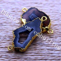 Pendentif noir bails en Ligne-10 Pcs En Gros Glod Plaqué Bord Freeform Dyed Noir Agate Druzy Slice Connecteur Double Bail Gemstone Geode Pendentif Perle Bijoux Résultats
