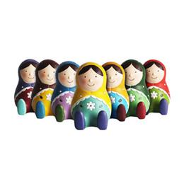Stile Zakka 4.5 pollici Altezza Bambole russe Salvadanaio Polyresin Russia Matrioska Nesting Doll Coin Bank Charity Regali orfani da