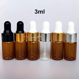 100 шт. / Лот 3 мл янтарная стеклянная бутылка с алюминиевой крышкой и черной резиновой колбой от
