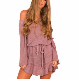 54ce3b180e Womens Ladies Long Sleeve Jumper shorts Sweater Off Shoulder Casual Loose  Overalls short Rompers womens jumpsuit Bodysuit female