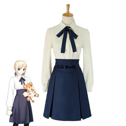 Destino ficar noite cosplay on-line-trajes anime cosplay Fate / stay night Saber Altria Pendragon cintura alta Túnica Saia Uniforme Escolar Outfit Costumes Cosplay Anime