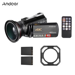 2019 lentes de capuz Andoer AC5 4k UHD 24MP Câmera de Vídeo Digital Filmadora DV 12X Zoom Óptico Com Montagem de Sapata Quente + 0.39X Lente Grande Angular + Lens Hood lentes de capuz barato