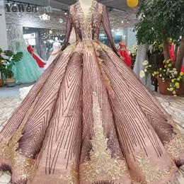 Magnifique Robe De Mariée Marron À Manches Longues Col En V Robes De Mariée Élégantes Dentelle Formelle A-ligne Robe De Noiva Plus La Taille YM20171 ? partir de fabricateur