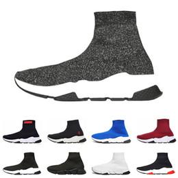 кроссовки с блестками Скидка Дешевые дизайнер скорость тренер люксовый бренд повседневная обувь черный белый красный блеск плоские модные носки сапоги кроссовки мода тренеры Бегун