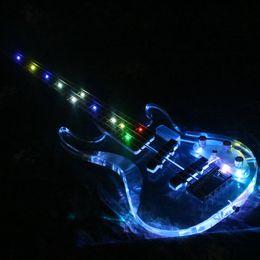 guitarra electrica led de iluminacion Rebajas 2019 Populer 5 cuerdas de colores LED Light Bass bajo eléctrico Acrylic Body Crystal Bass Guitar Flash
