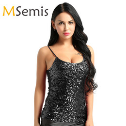 af20d9309d Womens Camisole Tank Tops for Women Clubwear Lady Dazzling Glittery Sequins  Adjustable Spaghetti Shoulder Straps Short Tank Tops