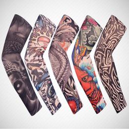 tatuajes de peces Rebajas Elástico falso tatuaje temporal manga brazo protección solar al aire libre pesca conducción arte 3D brazo manga del brazo fresco HHA158