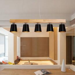 lâmpadas rústicas por atacado Desconto Restaurante moderno e minimalista de madeira led lustre Nordic criativo sala de jantar de madeira maciça 3/5 Cabeças pingente lâmpada Le-73