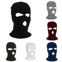 Maschere piene di fronte online-3 fori Full Face Mask maschera sci invernale Cap cappuccio della balaclava Moto casco del motociclo Casco integrale Army Tactical Mask