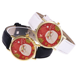 2019 Mulheres de Presente de Natal Senhora Moda Espelho De Vidro Gancho Fivela Assista Padrão de Papai Noel Relógios Relogio masculino supplier watches hook buckle de Fornecedores de relógio fivela de gancho
