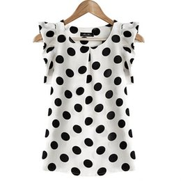 рубашка без рукавов без рукавов Скидка Fashion Girl Dots Blouse Women Casual Chiffon Shirt Sleeveless Ruffle Sleeve Shirt Summer Tops Black White