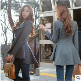 Casaco de dovetail on-line-Novas Mulheres Coreano Dovetail Slim Casaco De Lã Das Senhoras Designer Irregular Longo Blazer de Inverno Outwear Feminino Terno Jaqueta