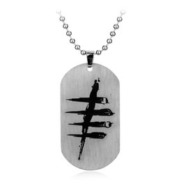 dead pendant Coupons - Dead by Daylight Logo Dog Tags Necklace Hot Game Silver Dog Tag Beads Chain Pendant Game Dead by Daylight Stainless steel Necklace