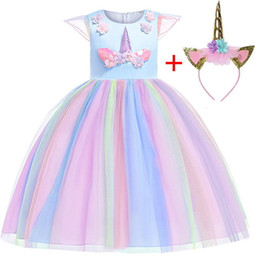 Bordado vestido gaze on-line-Vestido novo do Natal Lovly Unicorn Bordados Beading Gauze Princess Party Para Crianças Roupa 2-12 Years Free Tire Y19061501