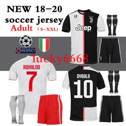 Conjunto completo de jersey online-2018 2019 2020 juve Juventus mejores juegos de Jersey de calidad juegos completos + calcetines HIGUAIN DYBALA Ronaldo camisetas de fútbol camisetas de fútbol en casa Envío gratis
