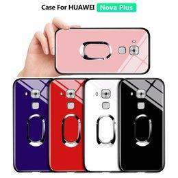 Caja del teléfono g9 online-Para Huawei Nova Plus / Maimang5 / G9 además del sostenedor del anillo magnético de lujo del caso del soporte de vidrio templado a prueba de golpes carcasa de teléfono móvil de la cubierta