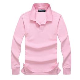 Поло длинный рукав онлайн-2019 Poloshirt Solid Polo Shirt мужчины роскошные рубашки поло с длинным рукавом мужская основной топ хлопок поло для мальчиков бренд-дизайнер Polo Homme MP020