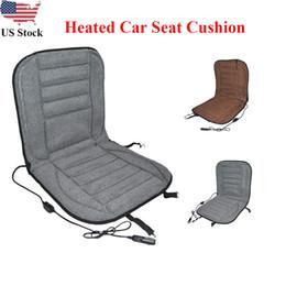 Pad invernale riscaldata dall'automobile online-12V Inverno Ispessimento riscaldata Auto cuscino di seduta dello scaldino del riscaldatore del rilievo di riscaldamento di copertura degli Stati Uniti