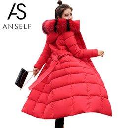 lunghe giacche calde con cappuccio donna Sconti Moda Donna Inverno Longline Jacket Fur Collar Hooded Long Sleeve Down Cotton Coat Parka Warm Addensare Capispalla