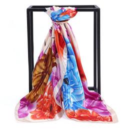 Écharpes de pivoine en Ligne-Fleur de pivoine riche couleur ding impression imitation foulard en soie dames grand foulard carré activités cadeau fabricants de serviettes en soie
