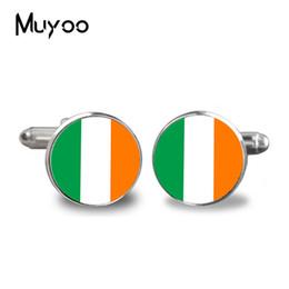 Boutons de manchette drapeau manchette en Ligne-Boutons de manchette de mariage boutons de manchette drapeau national irlandais homme chemise boutons de manchette Silver Quality Fashion Wen bijoux accessoires
