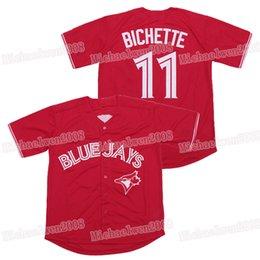 rote blaue jays jersey Rabatt Mens 11 Bo Bichette Toronto Blue Jay Baseball Blue Jays Jerseys 100% Genähte Blau Rot S-3XL