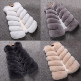 jaquetas de pele para mulheres Desconto Bzoosio Moda Plus Size Womens Ladies mangas Cor Colete Sólidos Brasão solto Inverno Faux Fur Vest Oversize revestimento S-4XL F