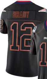 Мужчины Новая Англия 12 Джерси NE 87 человек вышивка и 100% сшитые 2019 огни черный цвет Rush Limited футбол Джерси 00 от