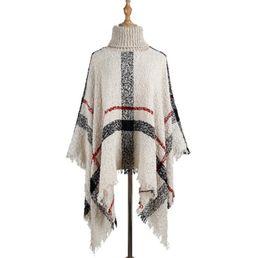 2020 poncho scialle sciolto Tassel Mantello scialle 6 colori donne del maglione a collo alto in maglia Pullover Poncho sciolti sciarpa scialli delle donne del Capo O-LJJO7205 poncho scialle sciolto economici