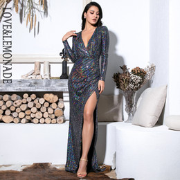 Love Lemonade Sexy Deep V-Neck Cut Out Puff Sleeves Glitter Sequins Elastic  Material Maxi Dress LM81715 41b256a5a793