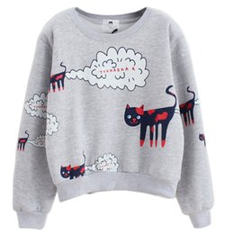pull à capuche gris-rose Promotion Sweat-shirt pour femmes Cartoon Nuages Chat Pull Hoodies Manches longues O-cou Casual Sweat chaud Lady Grey Rose Blanc Hoodies
