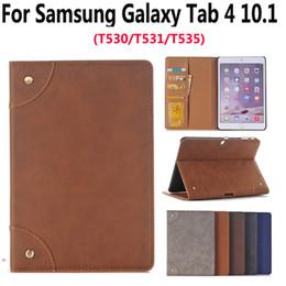 tarjetas de concha Rebajas Funda de cuero para Samsung Galaxy Tab4 Tab 4 10.1 Sm T530 T535 Lujo Business Slim Stand inteligente Soporte para tarjeta Flip Ranura para tarjeta Tablet Shell T190710