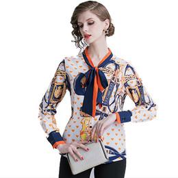 Blusa suelta de mariposa online-Camisa de verano para mujer Nueva blusa de moda para mujer Corbata de mariposa Impresión de manga larga moda casual suelta de alta calidad al por mayor envío gratuito
