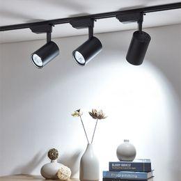 2019 iluminación de la pista del proyector COB 12W 20W 30W Luz de riel de led Carril de techo de aluminio Iluminación de riel Spot Spot Focos Reemplazar lámparas halógenas AC220V iluminación de la pista del proyector baratos