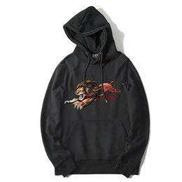 lion canvas print Promo Codes - 19SS New Men Embroidered Lion Letter Hoodies Hoody Hooded Sweatshirts Velvet Cotton Drake Thick Fleece Street Hip Hop #h41