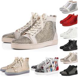 eb1b19b5079a30 NEUE 2019 vogue Designer Sneakers Rote Untere schuhe hohe Cut Wildleder  spike Schuhe Für Männer und Frauen Schuhe Aus Echtem Leder Turnschuhe