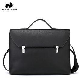 BISON DENIM Echtes Leder Umhängetasche Männer 14 '' Laptop Handtasche Männlichen Business Umhängetasche Dünne Umhängetasche für Männer N2598 # 226283 von Fabrikanten