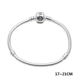 catena serpente amore europeo Sconti Braccialetto di collegamento Chain del serpente Braccialetto Fit Pandorx perline Braccialetto di amore 3 MM 17-21CM Fascino europeo per le donne Accessori di gioielli placcatura in argento fai da te