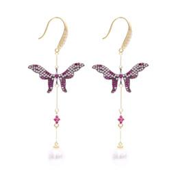 la farfalla ciondola gli orecchini Sconti Freeshipping Women Silver Earrings 2019 Fashion Pearl Butterfly Ciondola Chandelider femminile gioielli da sposa con orecchini a cristallo lungo orecchio
