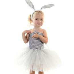 bunny cosplay dress Promo Codes - Summer Girl Bunny Dress Toddler Baby White Rabbit Cosplay Celebrate Custom Ball Gown With Gray White Ear Headband Girls Dresses
