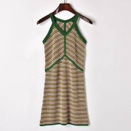 Gestreifte strickkleid frauen online-Frauen Kleidung Rock gestreiften Kontrast schlank Strickkleid Designer Boutique ärmellose hohe Taille Strick Leibchen Kleider Z321