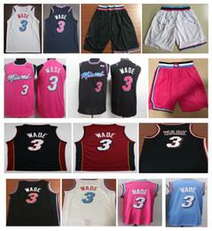 Sans broderie en Ligne-NCAA 2019 New Men City 3 # Dwyane Wade maillot cousu maillots de basket-ball Wade Blanc Noir Bleu shorts broderie chemise Wade Livraison gratuite